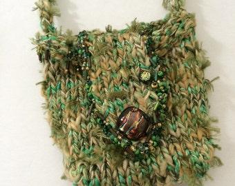 Rustic Handknit Dichroic Glass Treasure Amulet Fairy Art Fiber Bag Elven Pouch