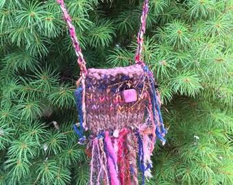 Rustic Handknit Dichroic Glass Treasure Amulet Totem Art Fiber Bag