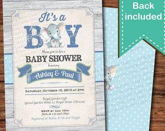 Coed baby shower etsy elephant baby boy shower invitation rustic wood baby boy couples coed baby shower digital invite its a boy blue woodland tx045 filmwisefo
