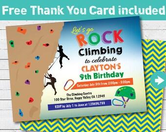 Rock Climbing Invitation Boy Kids Birthday Party Invite Indoor Wall Adventure Sport Theme Printable Digital Any Age KB221