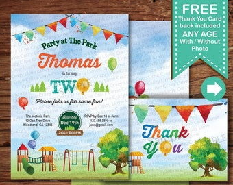 Park 2nd Birthday Invitation Watercolor Playground Baby Boy Bday Digital Printable Photo Card Invite Balloons Free Thank You KB242