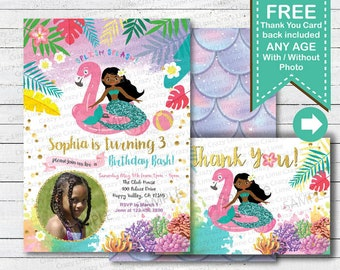 Flamingo and mermaid pool party invitation. Girl summer birthday digital printable photo invite card. Pink gold and purple SM008