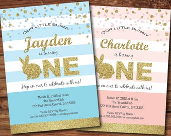 Bunny first birthday invitation. Blue and gold glitter baby boy 1st birthday Easter bunny party digital printable invite. E012