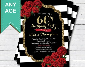 60th Birthday Invitation For Lady Red Rose Black And Gold Glam Valentine Woman Invite Any Age Printable Digital File AB146