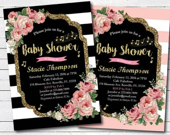 Pink Rose Music baby shower invitation. black and gold glitter musical baby girl couples coed shower digital printable invite. VB08P