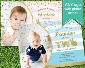 Bunny boy 2nd birthday invitation. Pink and gold glitter baby boy 1st birthday Easter bunny party digital printable photo card invite. E012