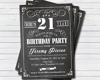 21st Birthday Chalkboard Invitation Cheers To 21 Year Whiskey Black And White Any Age Drinks Printable Invite AB135