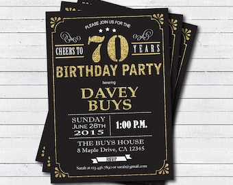 70th Birthday Invitation Black And Gold Cheers To 70 Years Glam For Man Woman Any Age Digital Invite AB126