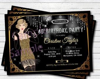 40th birthday invitations for women etsy roaring 20s 40th birthday invitation glam black and gold woman any age art deco flapper birthday party digital invite ab137 filmwisefo