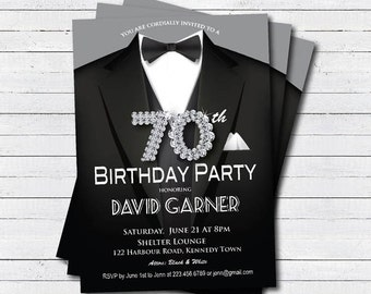 Man 70th Birthday Invitation Black Tie And Suit Diamond Bling Gala Dinner Party Printable Digital Invite AB039