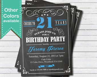 21st Birthday Chalkboard Invitation Cheers To 21 Year Blue Black And White Any Age Drinks Printable Invite AB135