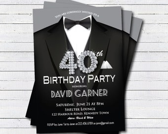 40th Birthday Invitation Man Black Tie And Suit Diamond Bling Gala Dinner Party Printable Digital Invite AB039