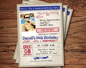 Surprise Birthday Invitation Men Guys Too Secret Funny Invite Photo Card 60th 70th Printable Digital AB112