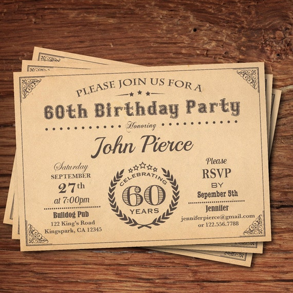 60th birthday invitation man retro vintage milestone 30th etsy image 0 filmwisefo