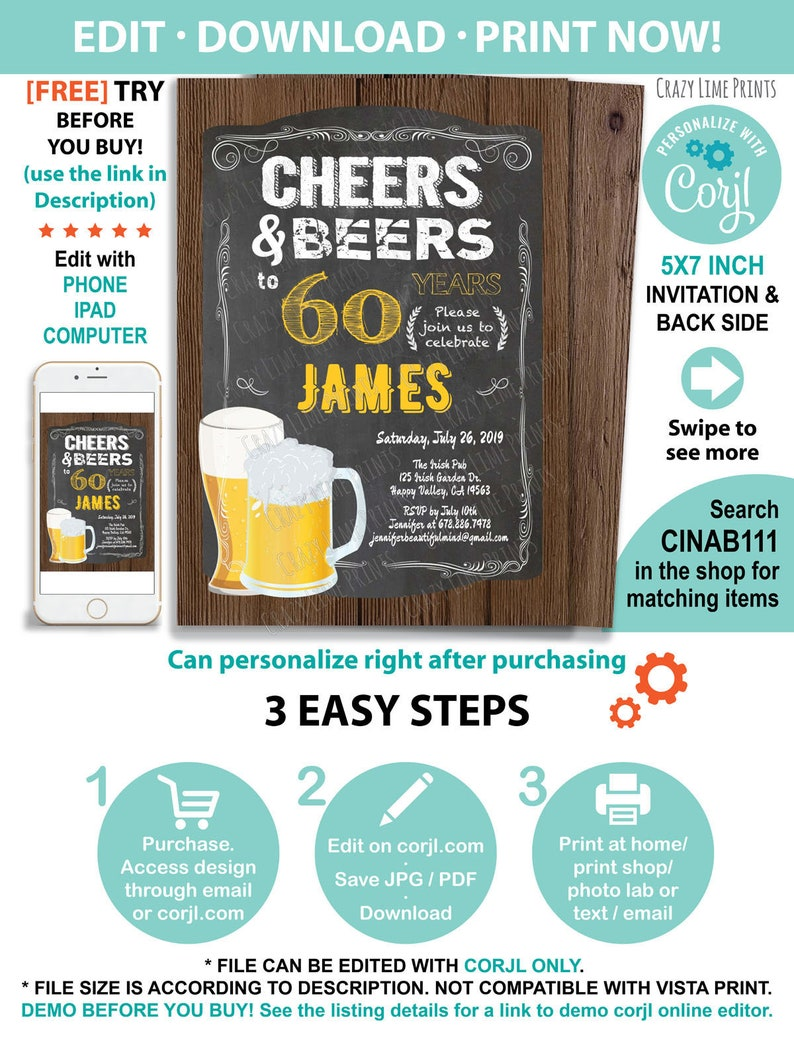 60th Birthday Invitation Cheers To 60 Years Men Retro Bar Chalkboard Invite Instant Download Editable PDF JPG Digital CINAB111
