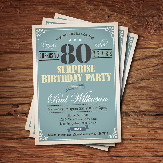 Surprise 80th Birthday Invitation For Man Guy Any Age