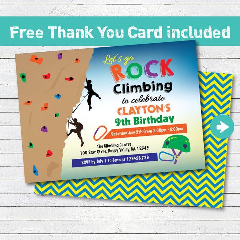 Rock Climbing Invitation Boy Kids Birthday Party Invite