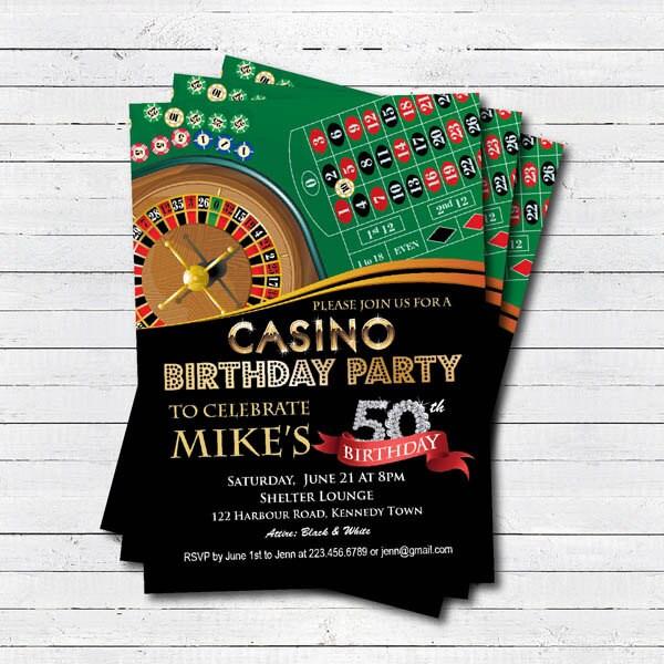 Casino 50th Birthday Invitation Adult Man Surprise