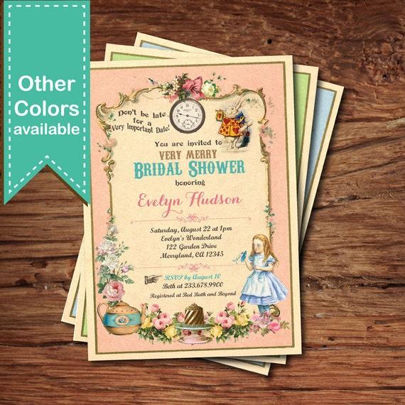Alice In Wonderland Bridal Shower Invitation Mad Hatter Tea