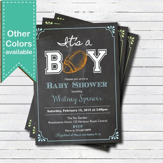 American Football Baby Shower Invitation. Retro Chalkboard