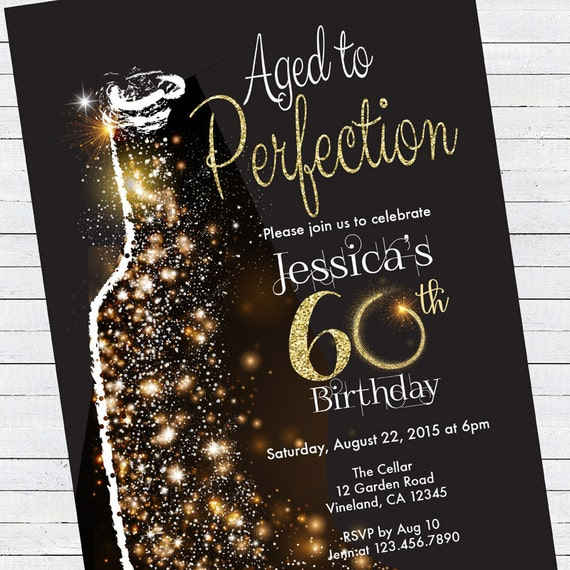 60th birthday invitation aged to perfection black and gold etsy