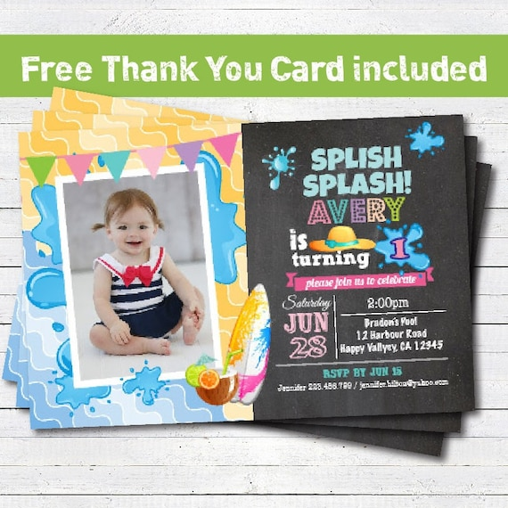 Pool Party Birthday Invitation Girl 1st First
