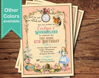 Mad hatter tea party invitation. Alice in wonderland Girl 1st 2nd 3rd 5th 10th birthday pink party digital invitation. Any age. invite KB166