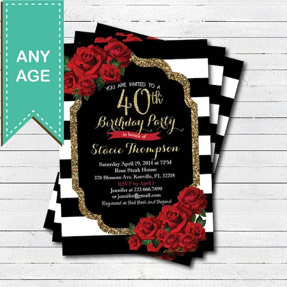 40th Birthday Invitation For Lady Red Rose Black And Gold