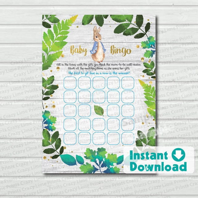 Peter Rabbit baby bingo game card. Instant download. Green blue and gold spring baby shower game. printable digital PDF file DIY E034
