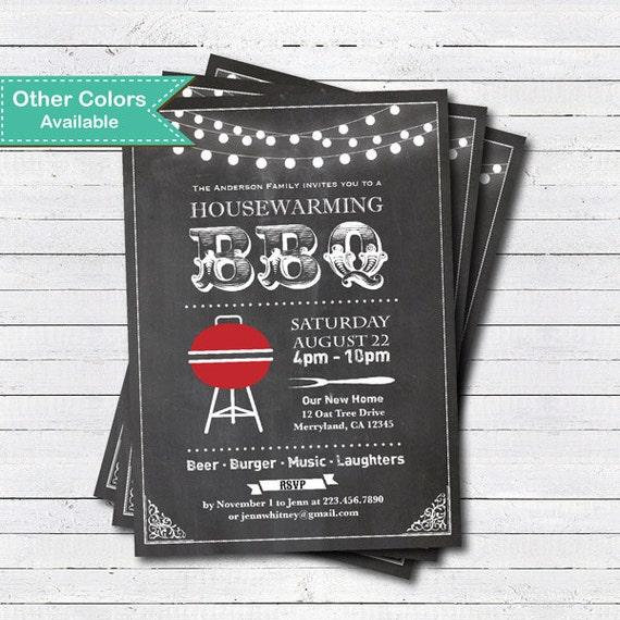 Chalkboard Housewarming BBQ Invitation Retro House
