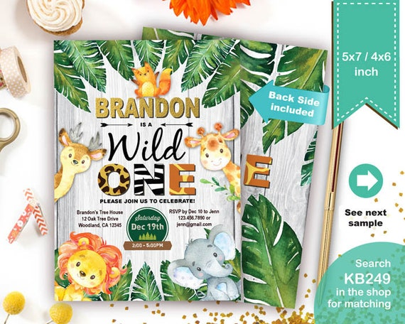 Wild One Birthday Invitation Baby Boy Jungle Theme 1st First Etsy