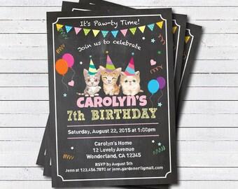 Kitten cat birthday invitation. Kid birthday boy, girl. Any age. Chalkboard 2nd 3rd 4th 5th 6th 7th 8th 9th birthday digital invite KB174