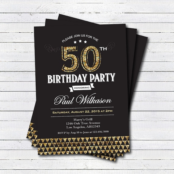 gold 50th birthday invitation man woman black and gold art etsy