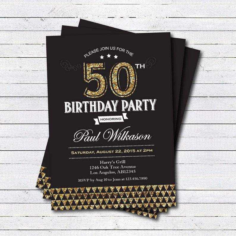 Gold 50th Birthday Invitation Man Woman Black And Art