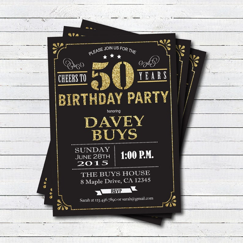 50th Birthday Invitation Black And Gold Cheers To 50 Years