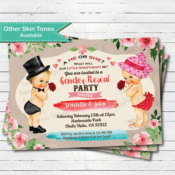 Valentine Gender Reveal Invitation Twins Boy And Girl Baby Etsy