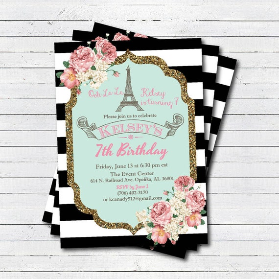Paris eiffel tower birthday invitation girl birthday etsy image 0 filmwisefo