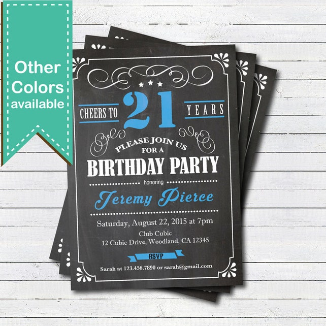21st Birthday Chalkboard Invitation Cheers To 21 Year Blue Black And White Any Age