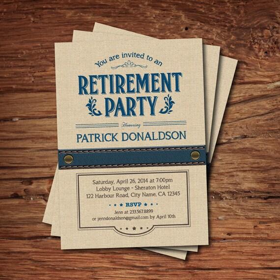 Invitación De La Fiesta De Jubilación Celebración De Jubilación Arpillera Azul Marino Estilo Rústico Vintage Para Hombre Invitación Digital