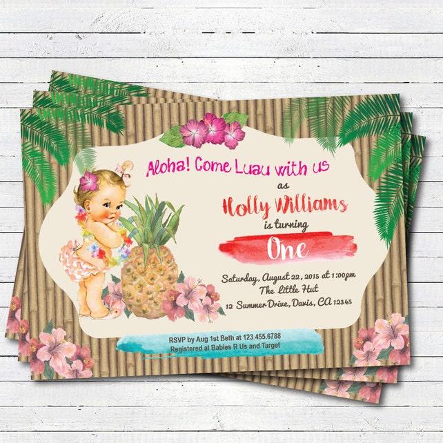 Luau 1st First Birthday Invitation Girl Boy Vintage Baby Summer Tropical Pool Party Beach