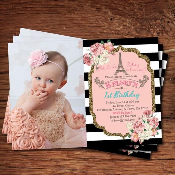 Elegant 1st first birthday invitation pink and gold black etsy image 0 filmwisefo