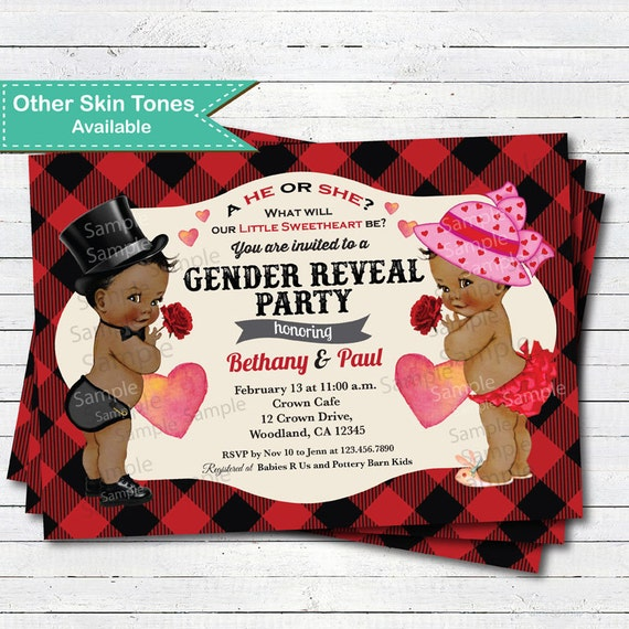 Valentine African American Gender Reveal Invitation Retro Red Etsy