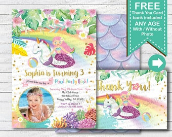 Unicorn and mermaid pool party invitation. Girl summer birthday digital printable photo invite card. Pink gold and purple SM009