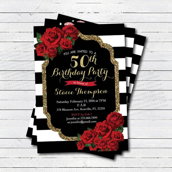 50th Birthday Invitation For Lady Red Rose Black And Gold