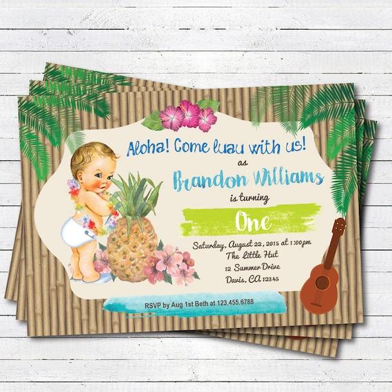 Hawaiian Luau Boy 1st First Birthday Invitation Vintage Baby Summer Tropical Pool Party Beach Birthday Party Invite Kb139