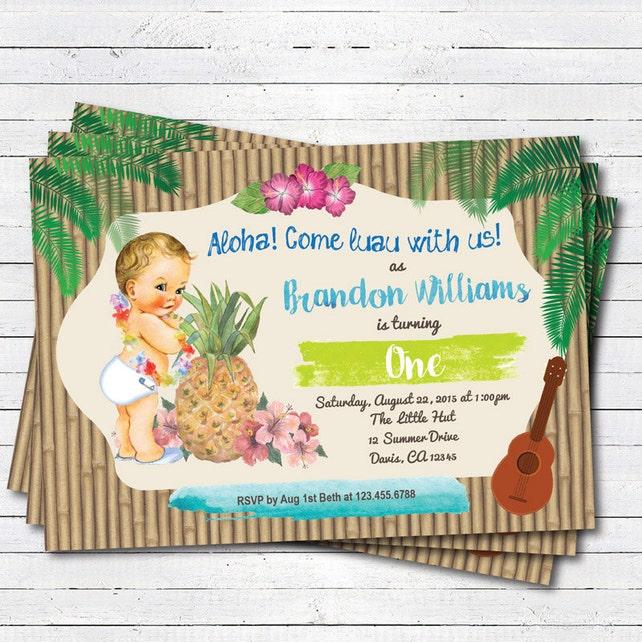 Luau 1st first birthday invitation  Girl, boy  Vintage baby