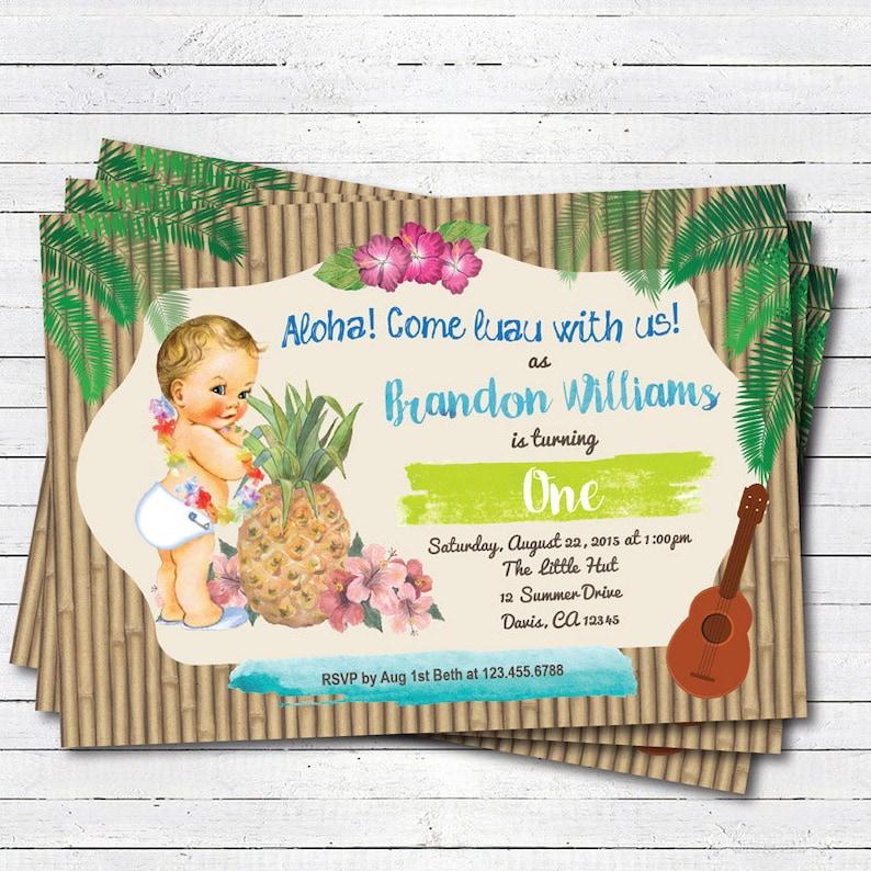 Hawaiian Luau Boy 1st First Birthday Invitation Vintage Baby