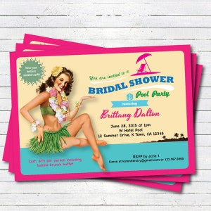 luau bridal shower invitation summer hawaii theme bridal shower pool party beach party hula printable digital invite tropical party bs100