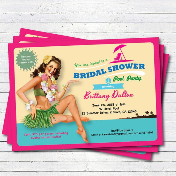 Luau bridal shower invitation summer hawaii theme bridal etsy image 0 filmwisefo