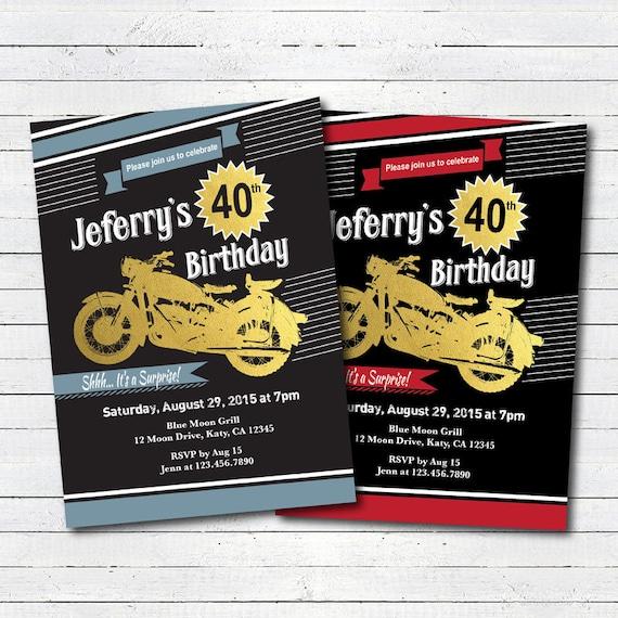 Motorrad Geburtstags Einladung Mann Kerl Jeden Alters Etsy